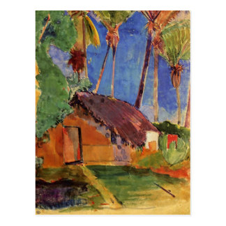 'Thatched Hut Under Palms' - Paul Gauguin Postcard