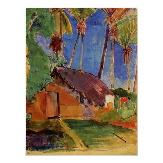 'Thatched Hut Under Palms' - Paul Gauguin Print