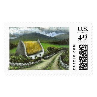Thatched Irish cottage Postage Stamp
