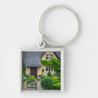 Thatched roof cottage Silver-Colored square keychain