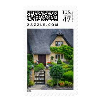 Thatched roof cottage postage