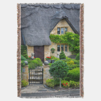 Thatched roof cottage throw blanket