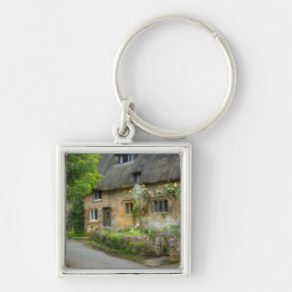 Thatched Roof home Silver-Colored Square Keychain