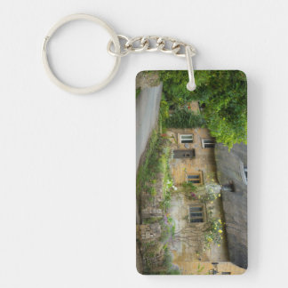 Thatched Roof home Double-Sided Rectangular Acrylic Keychain