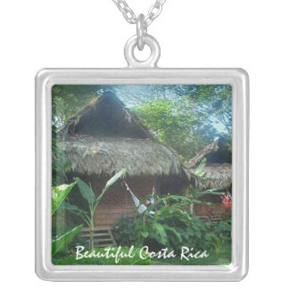Thatched Roof House in the Jungle in Costa Rica Square Pendant Necklace