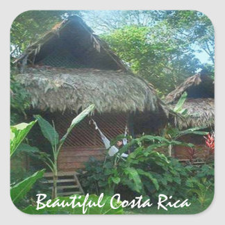 Thatched Roof House in the Jungle in Costa Rica Square Sticker