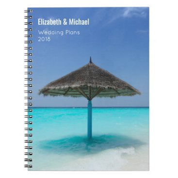 Beach Themed Thatched Umbrella on Tropical Beach Wedding Plans Spiral Notebook