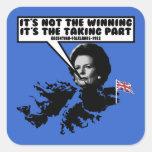 Thatcher divertida Malvinas Calcomanía Cuadrada Personalizada