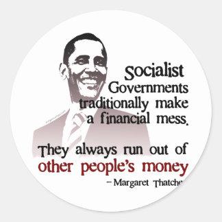 Thatcher socialist quote round stickers