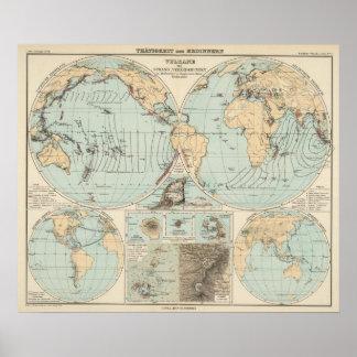 Thatigkeit des Erdinnern Atlas Map Poster