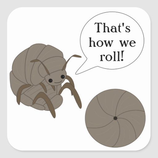 That's how we roll! Pillbug Stickers