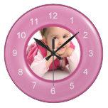 That's My Girl Shiny Pink Ring Custom Photo Round Wall Clock