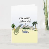 """""""That's my wife!"""" Funny Dinosaur Greetings Card"""