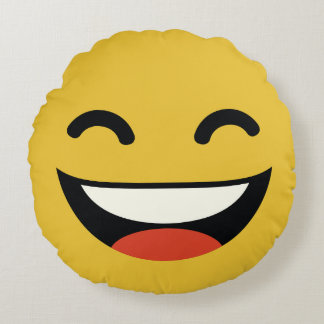 that's one happy dude emoji round pillow