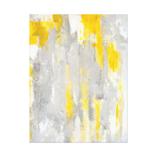 'That's Random' Grey and Yellow Abstract Art Canvas Print