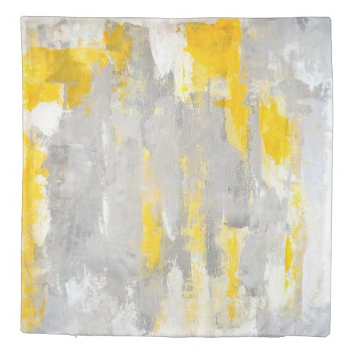 'That's Random' Grey and Yellow Abstract Art Duvet Cover