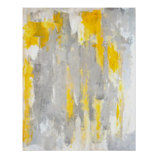 'That's Random' Grey and Yellow Abstract Art Poster