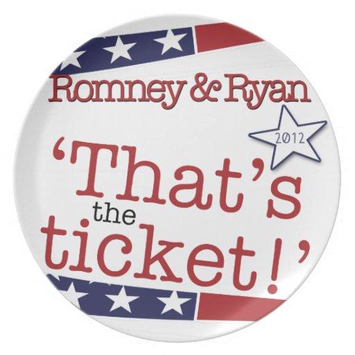 That's the ticket! Romney & Ryan 2010 Melamine Plate