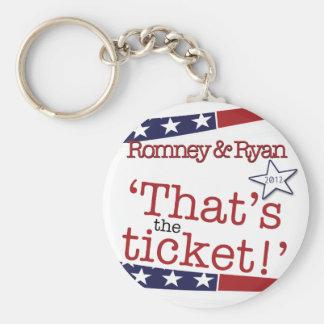 That's the ticket! Romney & Ryan Basic Round Button Keychain