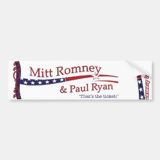 That's the ticket! Romney & Ryan Bumper Sticker