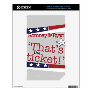 That's the ticket! Romney & Ryan NOOK Color Decal