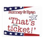 That's the ticket! Romney & Ryan Postcard