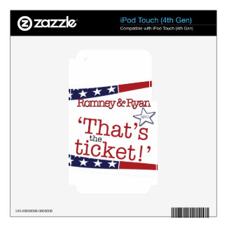 That's the ticket! Romney & Ryan iPod Touch 4G Decals