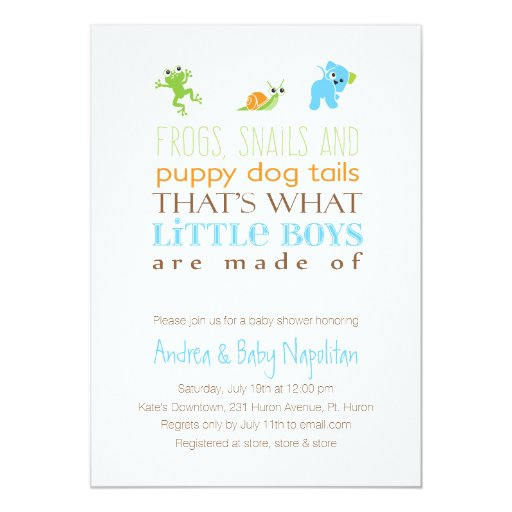 That's What Little Boys Are Made Of Baby Shower 5x7 Paper Invitation Card