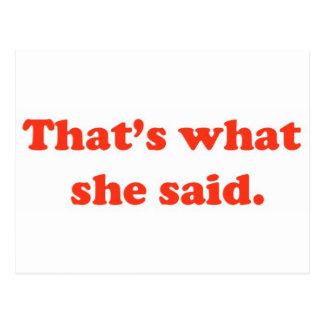 That's What She Said 3 Postcard