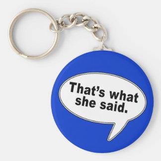That's What She Said Talk Bubble T shirts Keychain