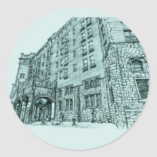 Thayer Hotel architecture wedding venue Classic Round Sticker