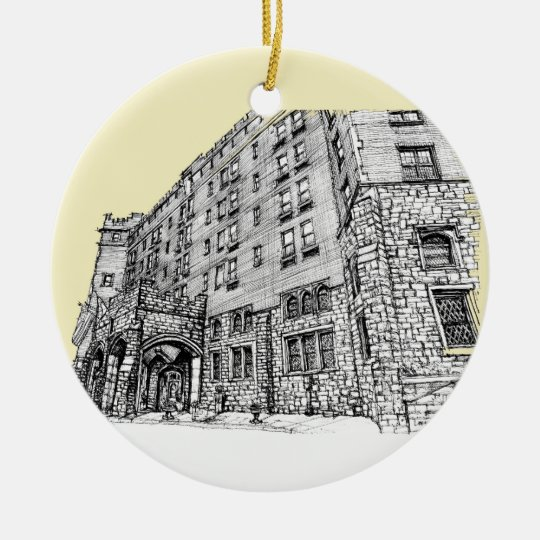 Thayer Hotel cream ivory Ceramic Ornament