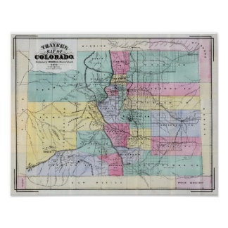 Thayer s Map of Colorado Poster