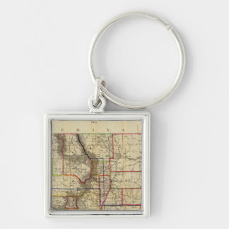 Thayer's map of Colorado 2 Silver-Colored Square Keychain