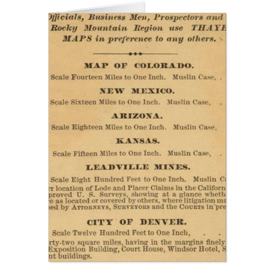 Thayer's map of Colorado Card