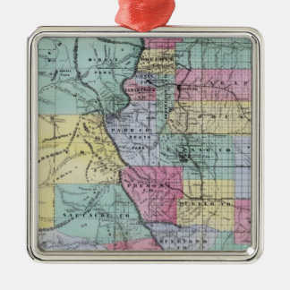 Thayer's Map of Colorado Metal Ornament