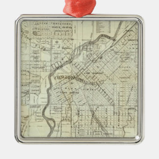 Thayer's Map of Denver Colorado Square Metal Christmas Ornament