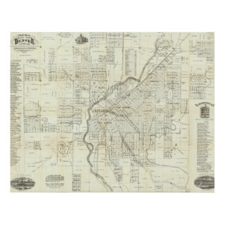 Thayer's Map of Denver Colorado Panel Wall Art