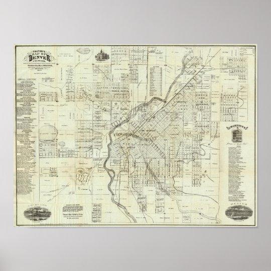 Thayer's Map of Denver Colorado Poster