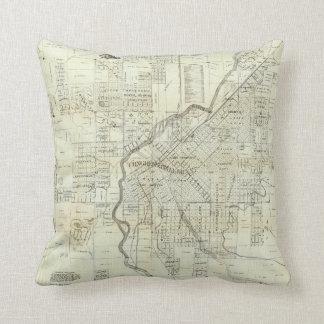 Thayer's Map of Denver Colorado Throw Pillow