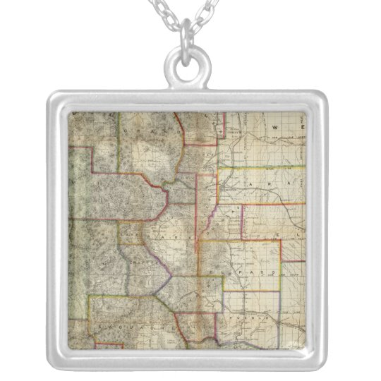 Thayer's New Map Of The State of Colorado Silver Plated Necklace