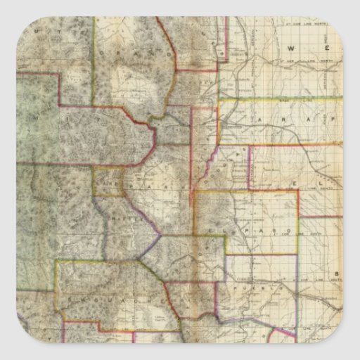 Thayer's New Map Of The State of Colorado Square Sticker