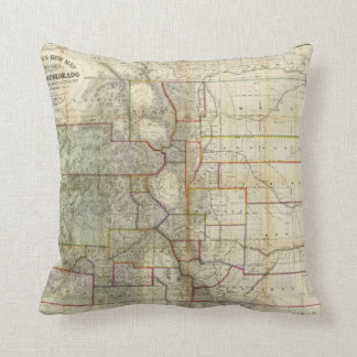 Thayer's New Map Of The State of Colorado Throw Pillow
