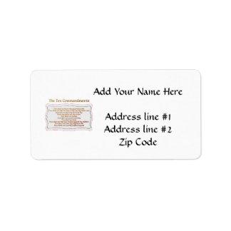 The 10 Commandments Address Label