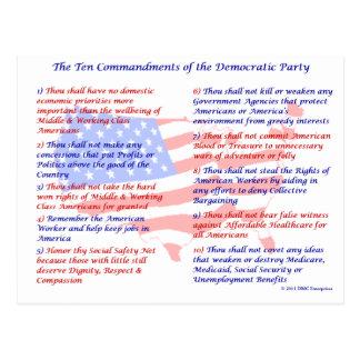 The 10 Commandments of the Democratic Party Postcard