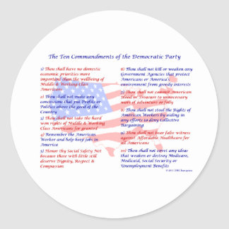 The 10 Commandments of the Democratic Party Sticker