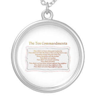 The 10 Commandments Silver Plated Necklace