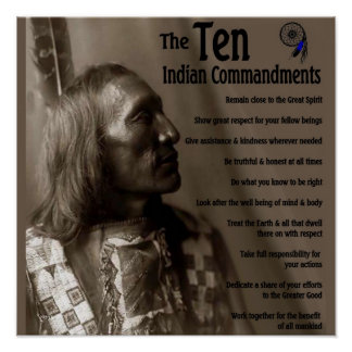 The 10 Indian Commandments Poster