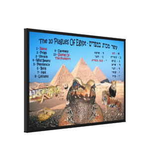 The 10 Plagues Of Egypt - English & Hebrew Canvas Print