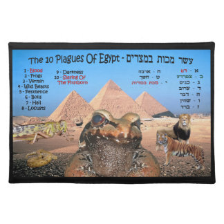 The 10 Plagues Of Egypt - Hebrew & English Cloth Placemat